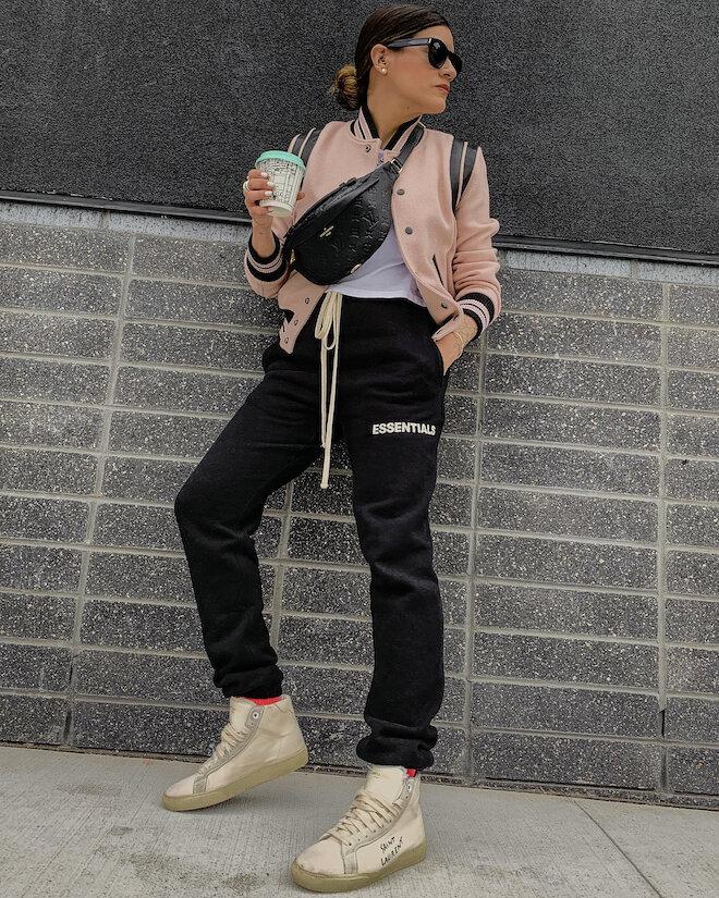 Instagram @_NathalieMartin - casual outfit ideas, Essentials black jogger sweatpants, jogging pants, Saint Laurent white canvas high top shoes, pink Saint Laurent Teddy jacket, Louis Vuitton Empreinte Bumbag, woahstyle.com_6542.JPG