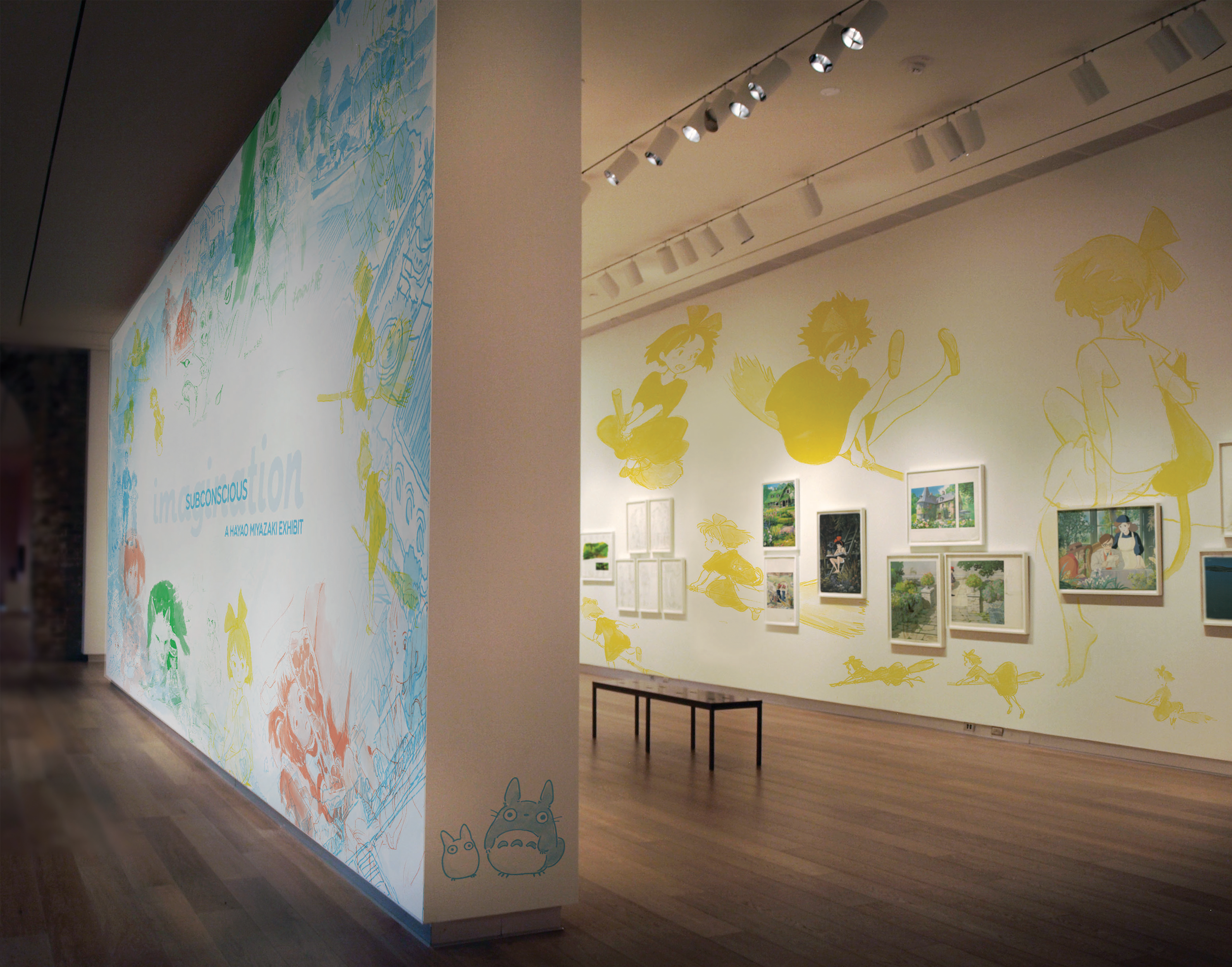 The entryway and main splash wall when entering the exhibit, with supporting graphics on the walls.