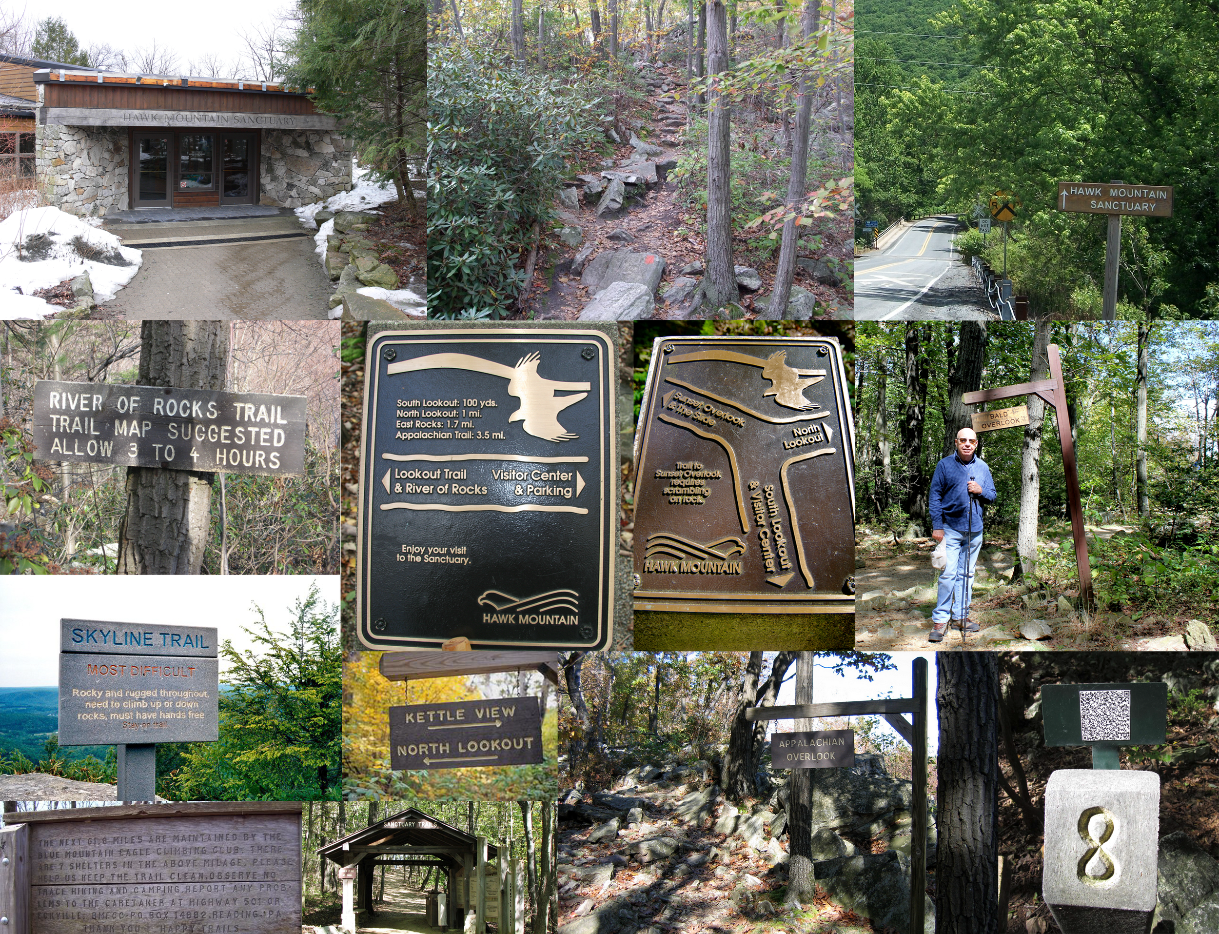 The current signage features a mix of different designs, new and old, at varying degrees of deconstruction from the elements.