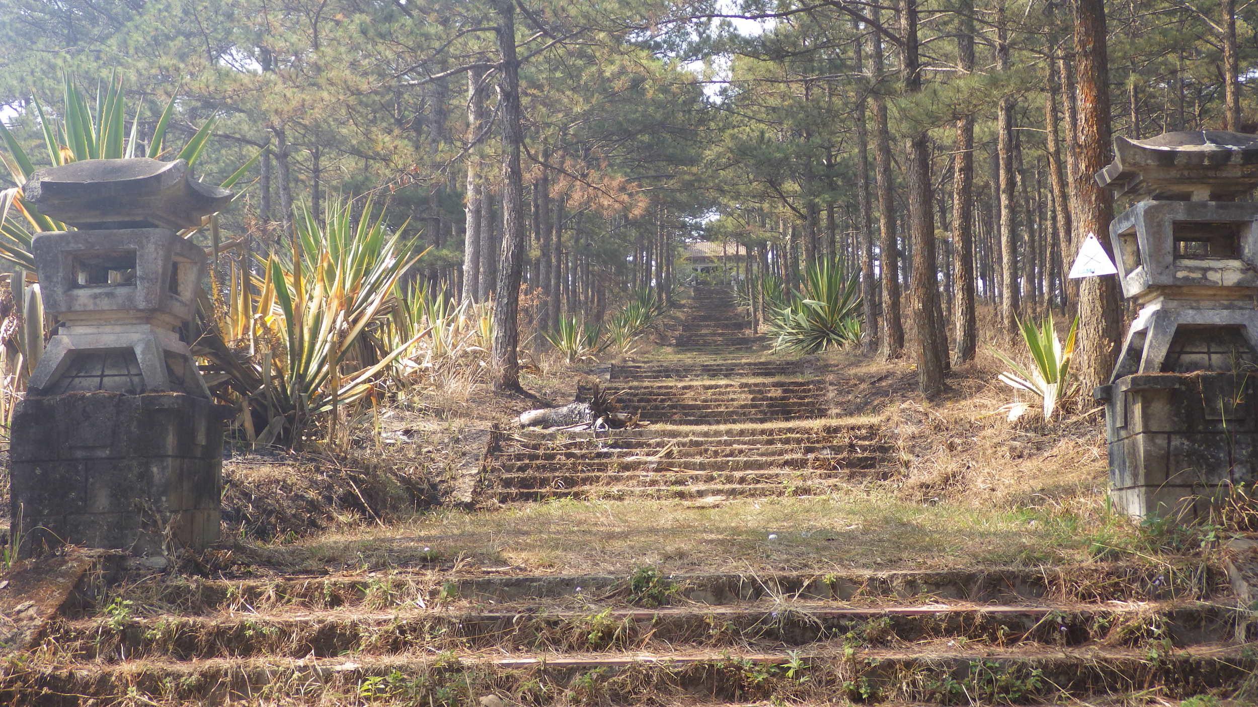 Ten million billion treacherous steps covered in slippery pine needles.