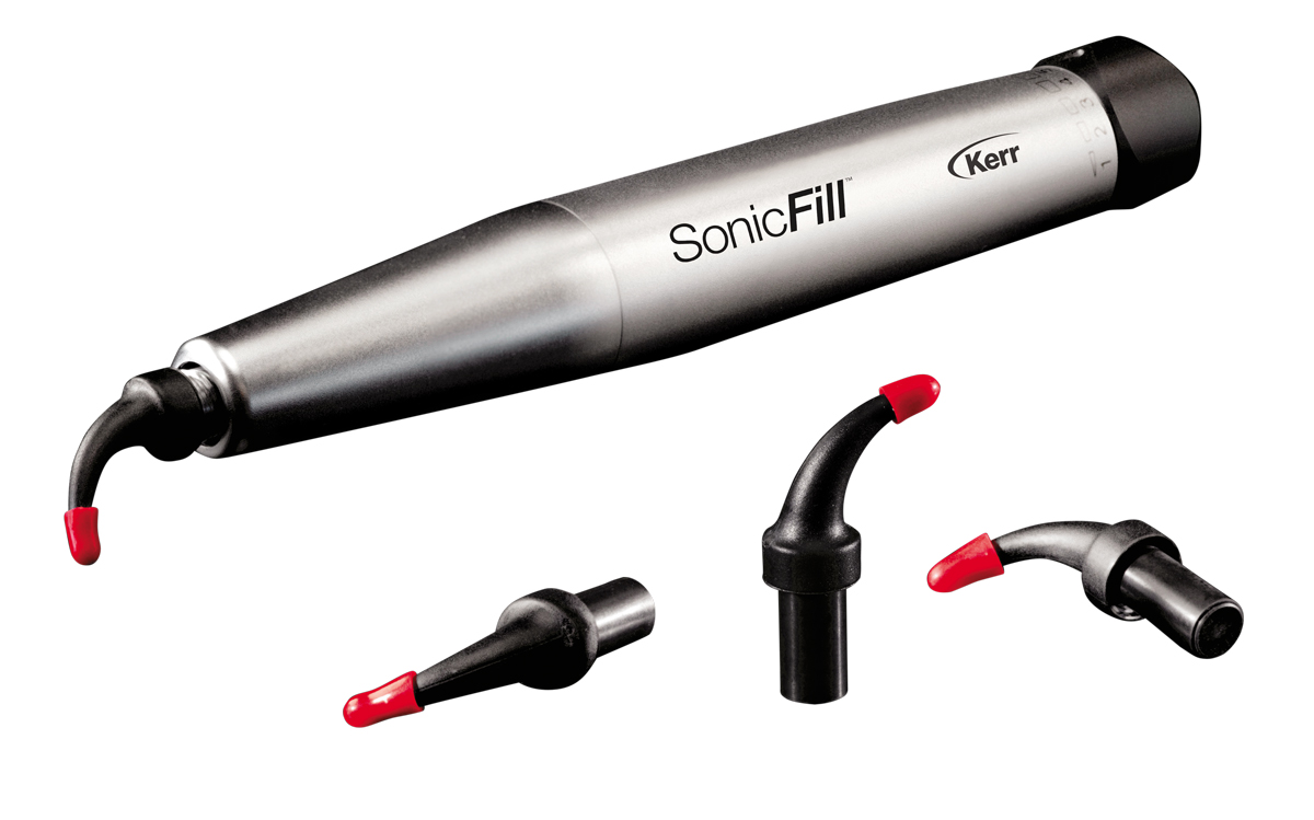 "The Sonicfill ""handpiece"" and composite filling material tubes. It plugs into our chairs much like the dental polisher and ""drills."""