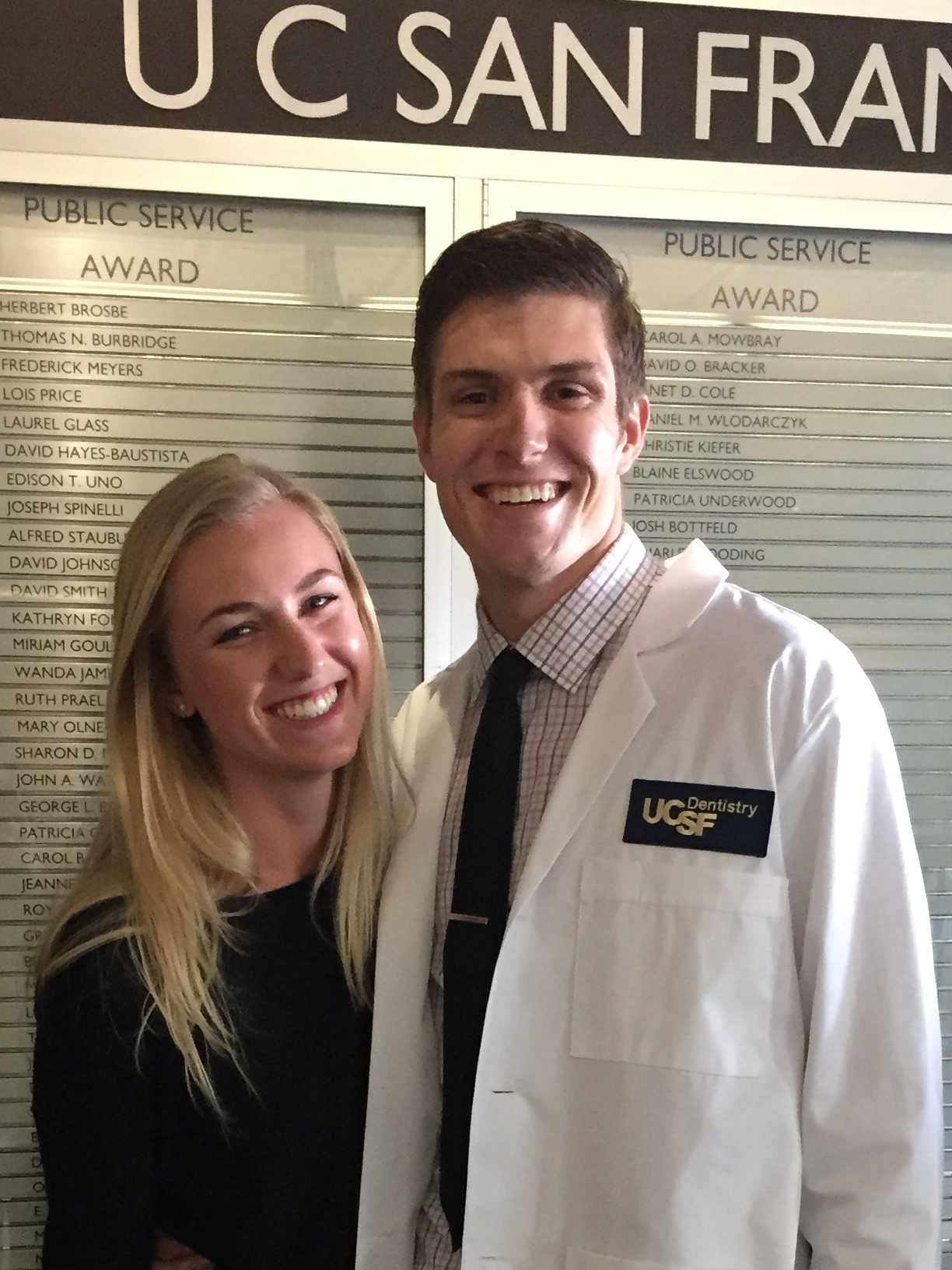 Dean and His Girlfriend at his white coat ceremony.
