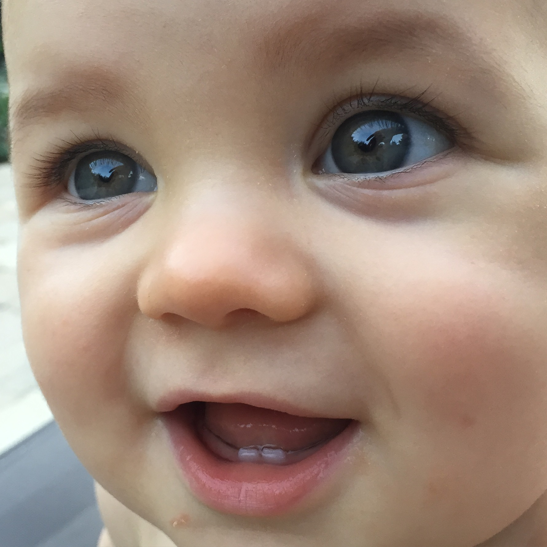 Here you can really see his first two teeth!