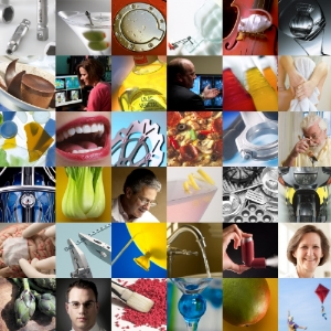 Medical, product, commercial, automotive, and corporate image collage.