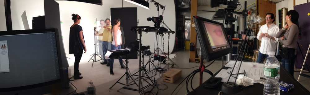 working on set during the shoot