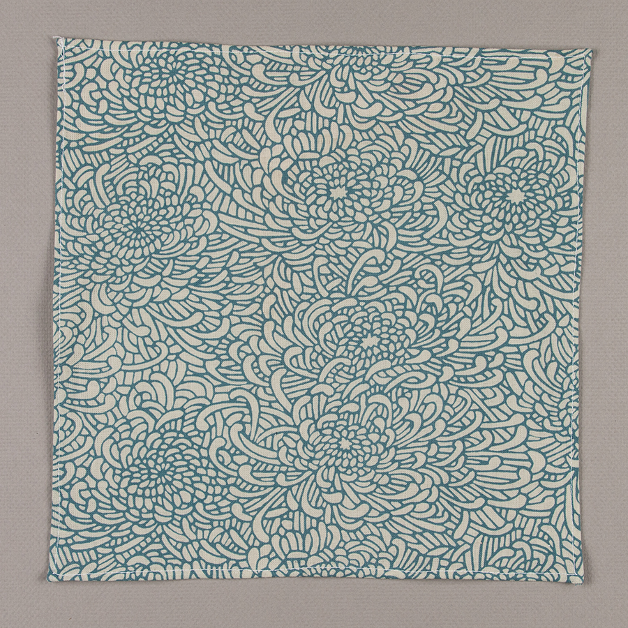 Light Blue Chrysanthemum Pocket Square