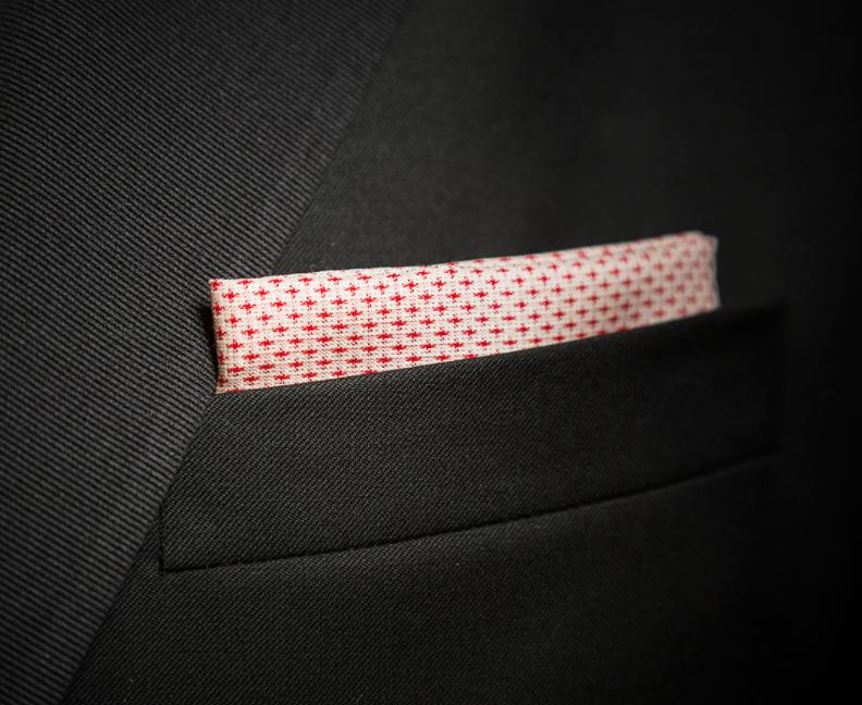 Sashiko Red and White Pocket Square