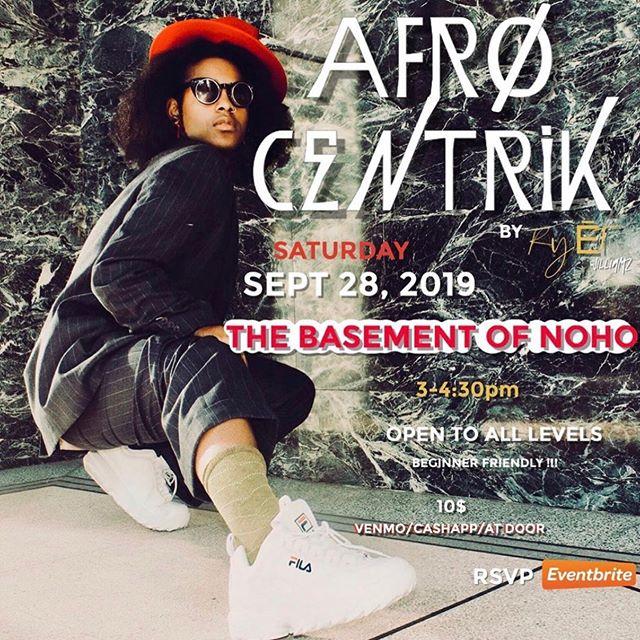 TOMORROW  3-4:30pm $10 #Repost @riotwilliamz ・・・ Sept 28, 3-4:30 at the @basementofnoho 2 days away I will be holding my next class mark your calendars🗓 ticket link in bio!!! #AFRØCENTRIK @afr0centrik