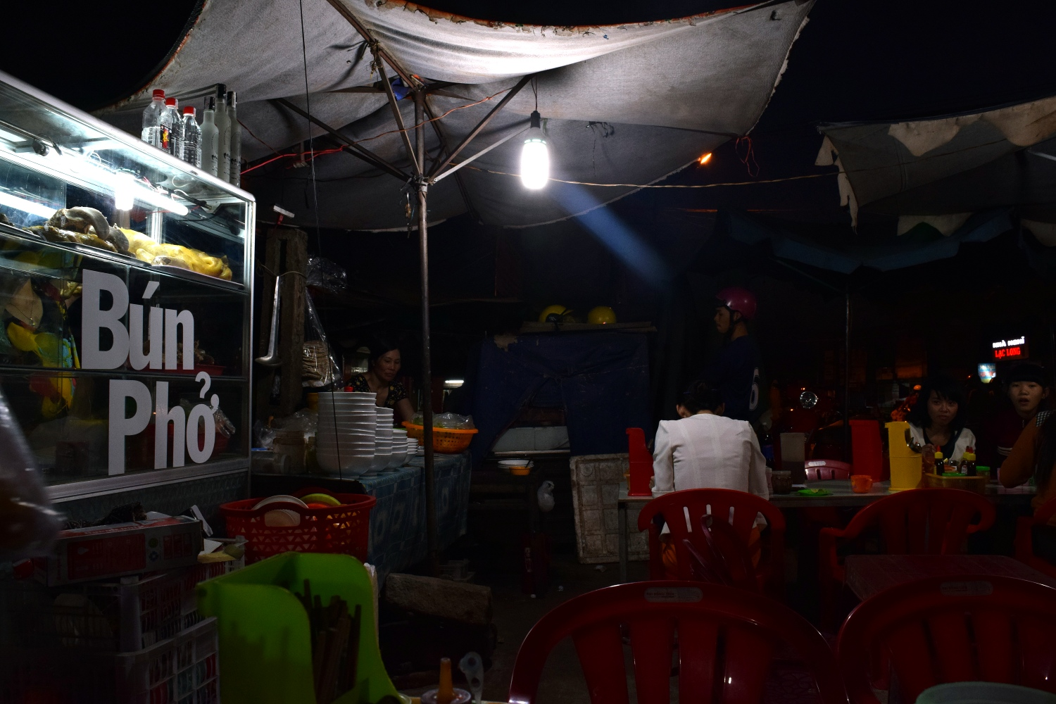 Dinner at the night market in Ea Drang