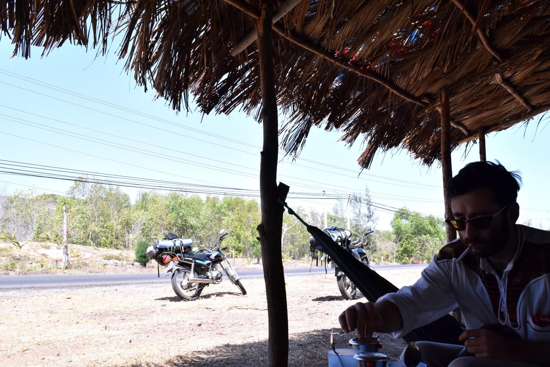 Drinking ca phe da somewhere between Saigon and Mui Ne