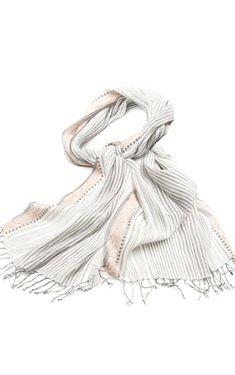 Indigo Handloom colored stripe cotton scarf, handmade in India.