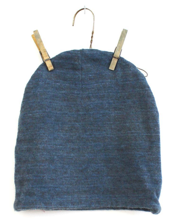 STATE the Label alpaca indigo slouch beanie. Blue wool beanie.