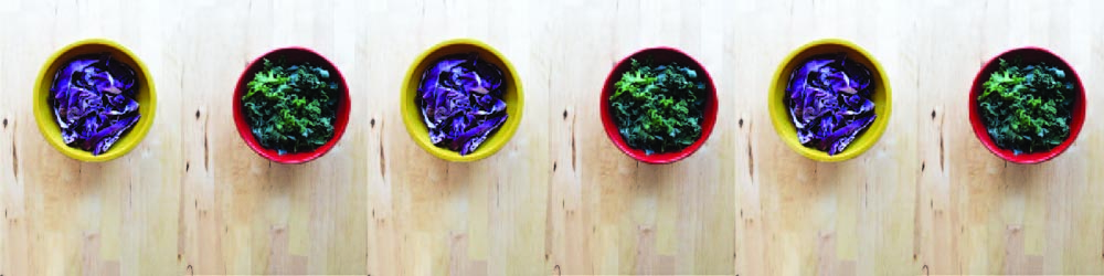 Food pop art. Colorful veggies. Kale and cabbage fried rice.
