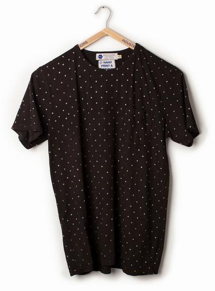Industry of All Nations t shirt. Black batik block printed t shirt. Natural dyed t shirt. IOAN. Fair trade t shirt.