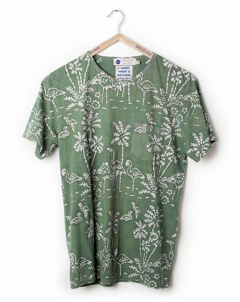 Industry of All Nations t shirt. Green batik block printed t shirt. Natural dyed t shirt. IOAN. Fair trade t shirt.