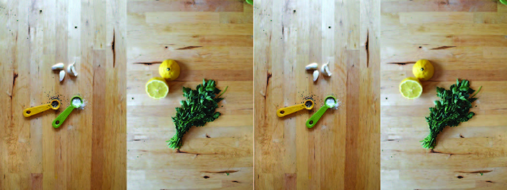Garlic, salt, pepper, lemon and parsley. Flavors and ingredients for hummus recipe.
