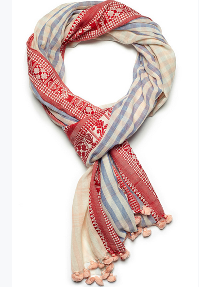 Indigo Handloom four seasons red poppy scarf.
