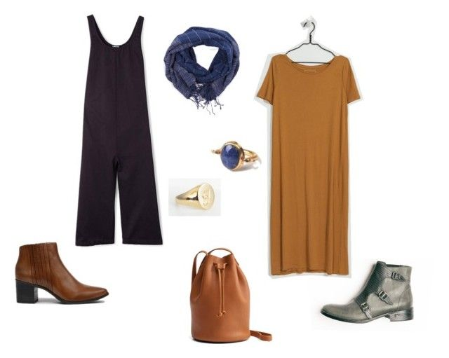 Two stylishly comfortable weekend outfits with jumper by  Ilana Kohn , dress by  Kowtow , bag by  Baggu , shoes by  Freda Salvador  &  Coclico , scarf by  Malena , rings by  J. Hannah  &  Soko .