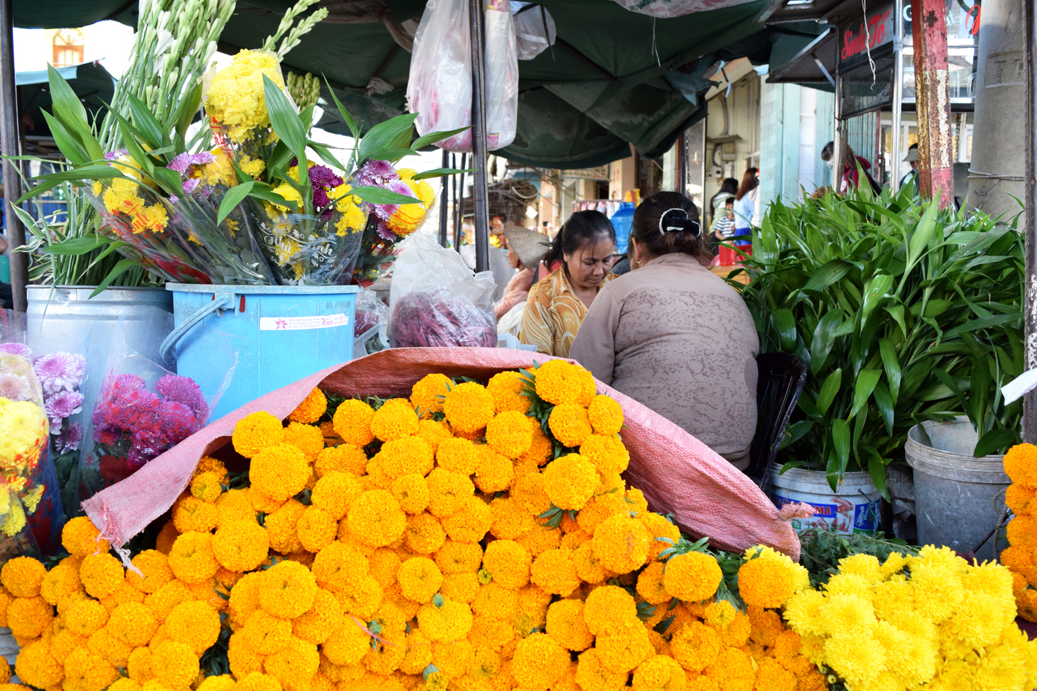 how to be a conscious traveler sustainable travel Vietnam flower market