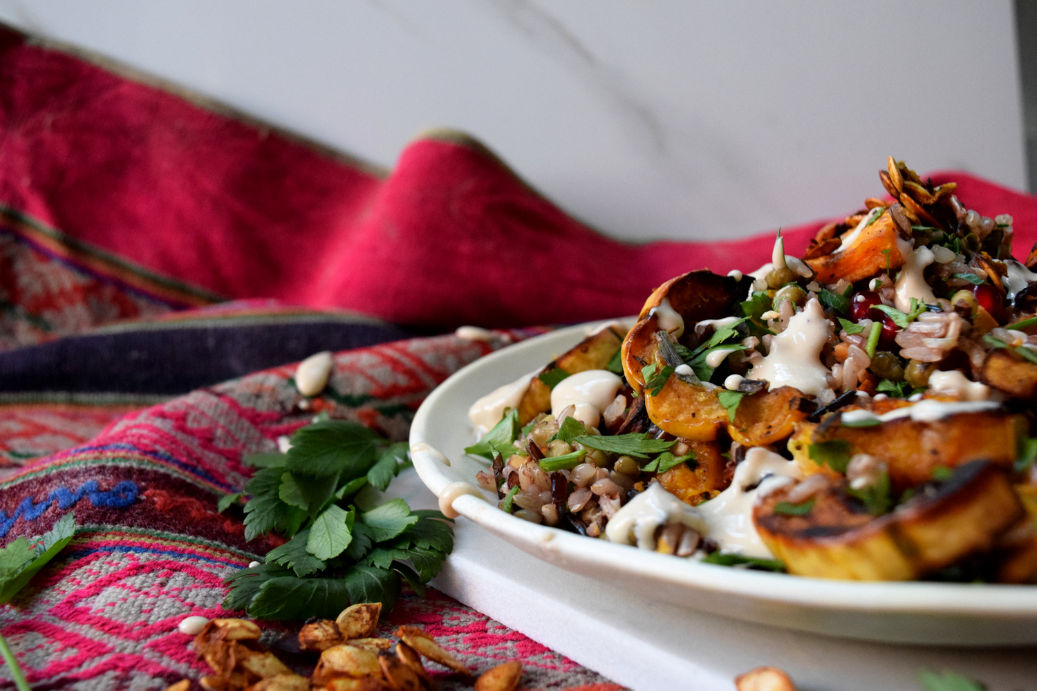 wild rice roasted squash pomegranate delicata butternut vegan thanksgiving recipe
