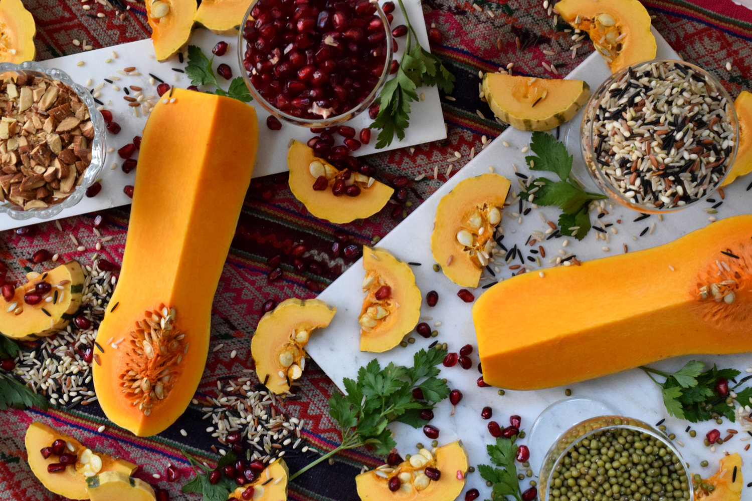 wild rice butternut delicata squash vegan thanksgiving recipe