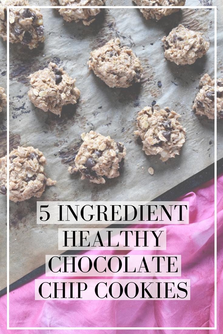 five ingredient healthy vegan chocolate chip cookies