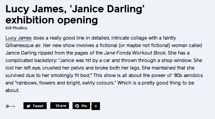Lucy James 'Janice Darling' exhibition opening