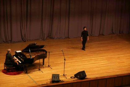 Maesso's improvisational piano pieces are accompanied by the improv dance stylings of Iván Barreto.