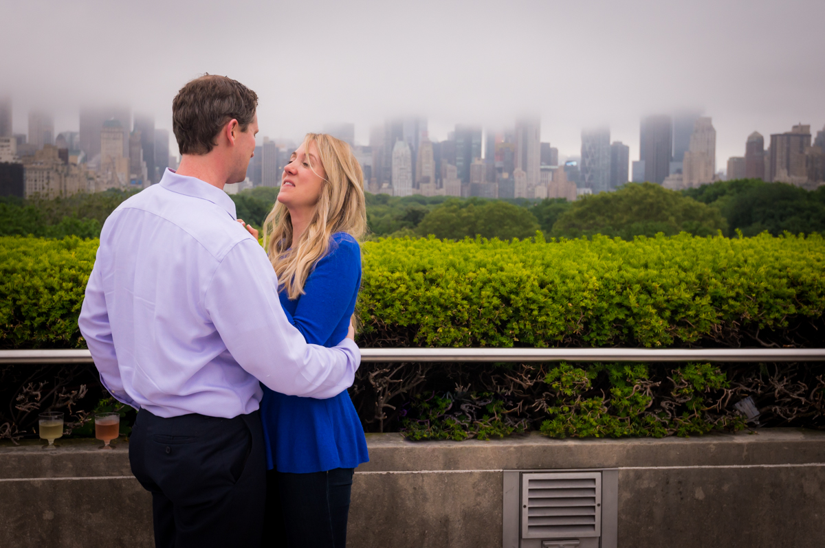 Scenic and romantic suprise engagement at The Metropolitan museum in NYC by Unveiled Weddings.