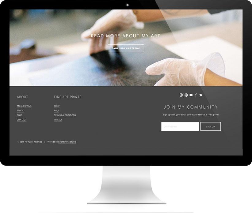 Website design for Anna Curtius Fine Prints by Brightworks Studio
