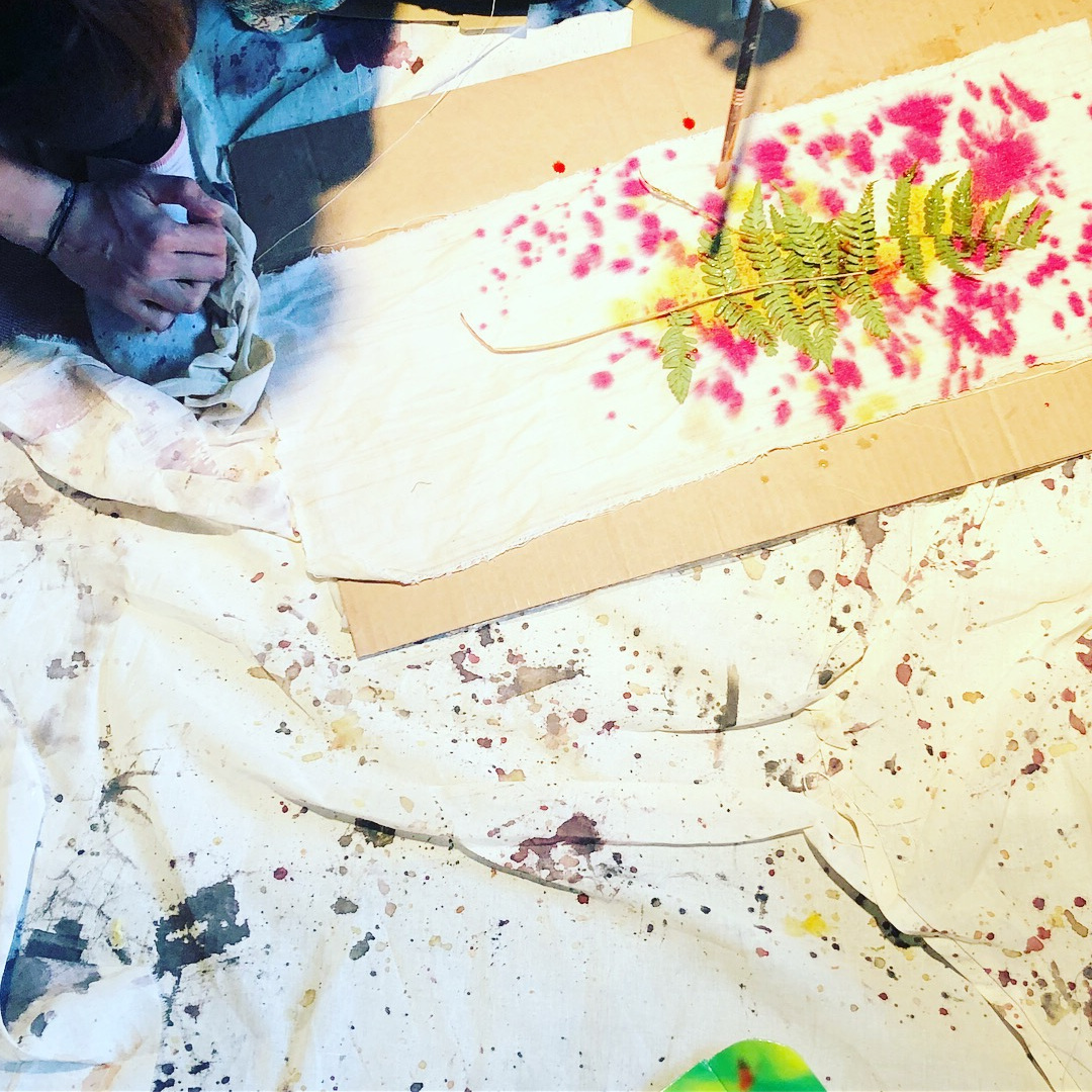 Natural Dye Painting  - 2018 - Madeline Lynch and I lead a 3 hour workshop during the Osmunda Artist Residency at Gallery 151 on the history of natural dyes and how to apply them to fabric using a paintbrush and sponge application.