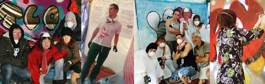 Graffiti-workshop - Direktörer, marknadsförare, PR-människor, festivalbesökare och helt vanliga ha provat på att tillhöra ett graffiti crew för några timmar. Det är grupparbete på hög nivå där det gäller att vara kreativ och gemensamt komma fram till och pusha varandra att med hjälp av sprayfärg tillverka ett konstverk. Det är lika kul att lära att grunderna till graffiti till gammal som ung och resultatet blir nästan alltid fantastiskt bra. Vi brukar undra vad som händer med målningarna efteråt hängs slagorden upp hemma på kontoret i fika rummet?Vi har bland annat hållit workshops för Europride, Designweek Stockholm, UKM Uppsala, TCO, Rica hotels, Örebros stadsarkitekter med många flera flera. Det här är en utmärkt konferensworkshop eller som en kreativt inslag för en kickoff.Gruppen skapar tillsammans och blir ett crew och får dessutom med sig ett riktigt snyggt konstverk hem. Workshopen tar ungefär en timme.Är du intresserad av en graffitworkshop mejla info@fuldesign.se eller ring någon av oss i Fuldesign