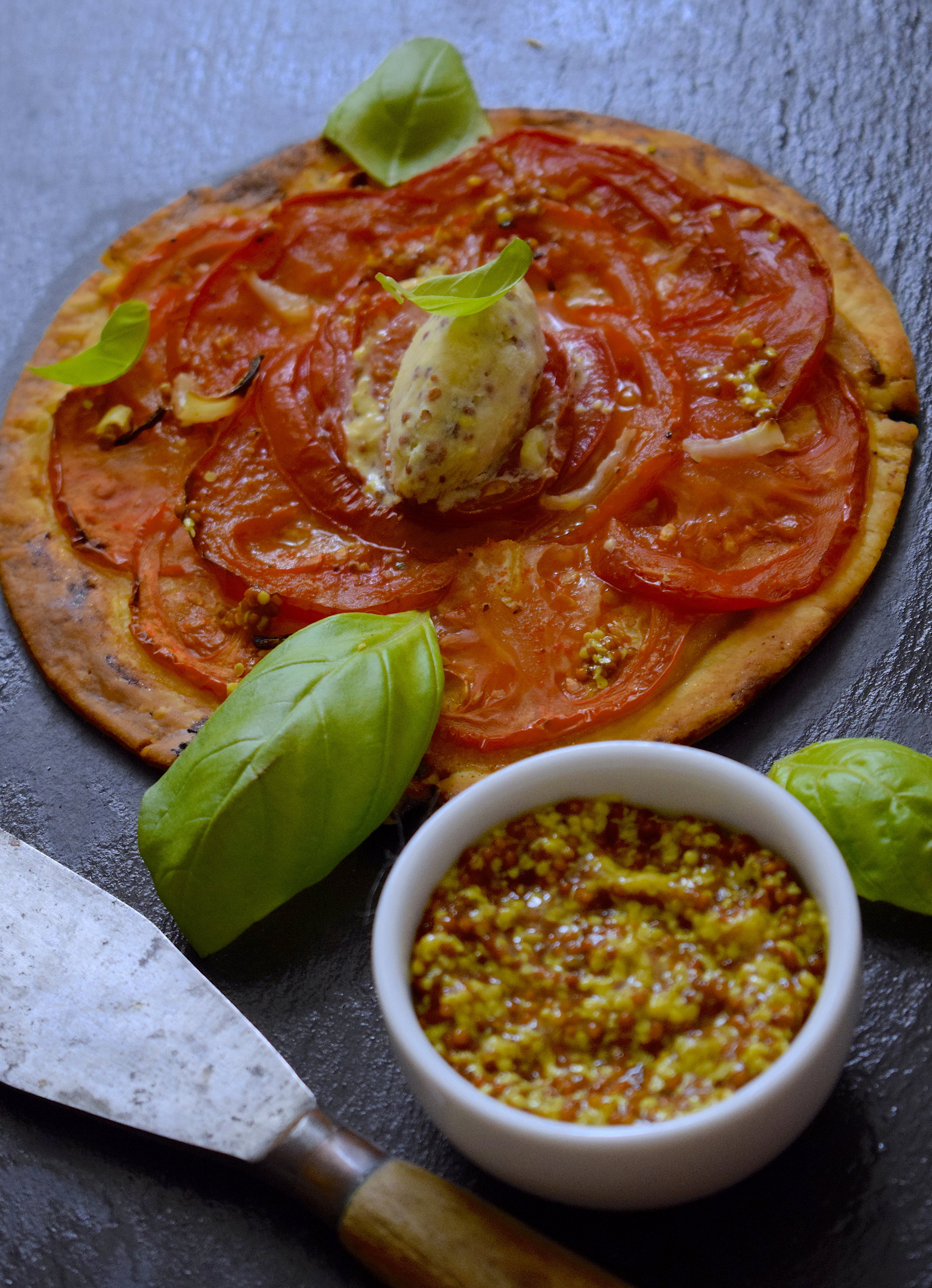 tarte tomate, glace moutarde