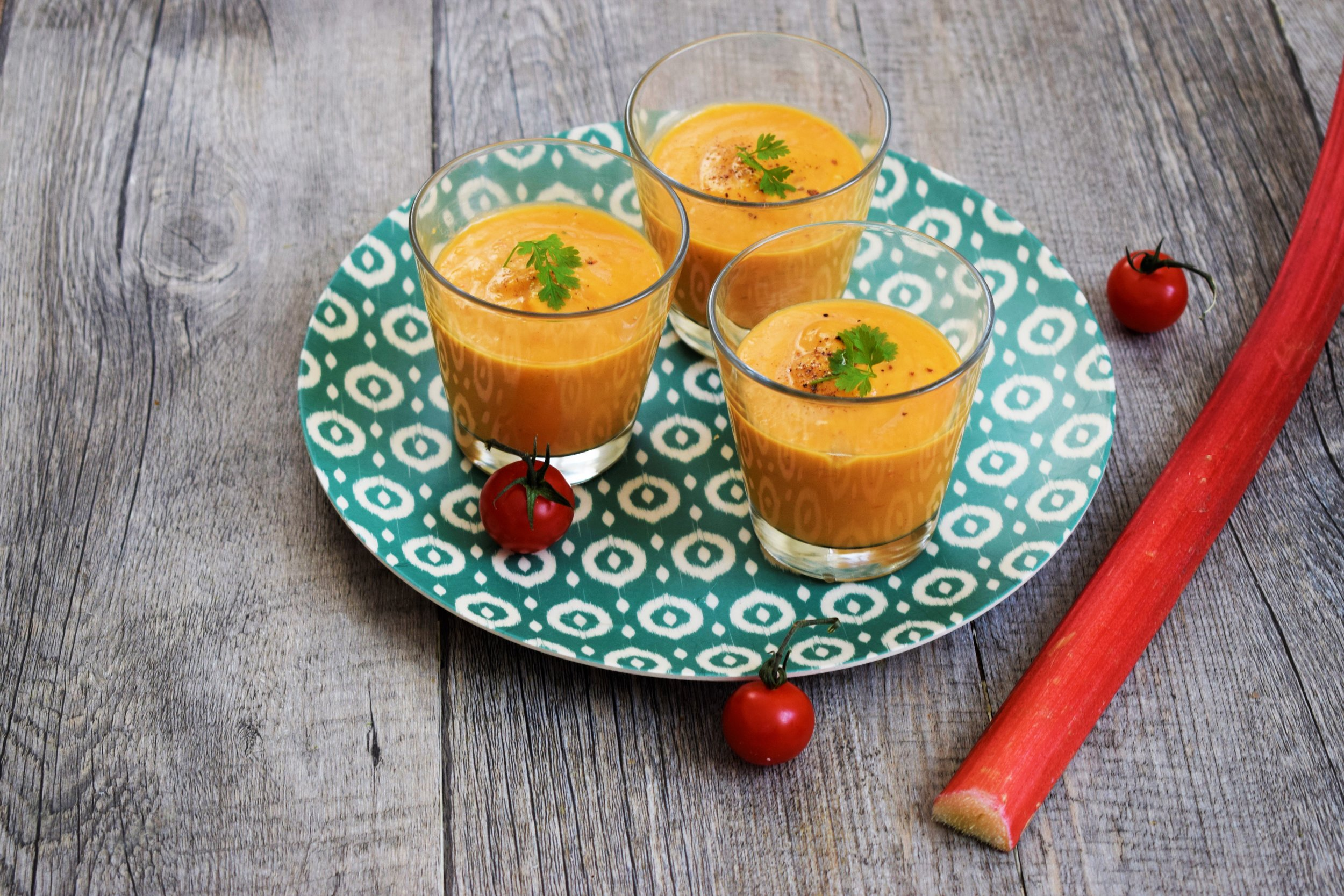 Gaspacho tomate rhubarbe