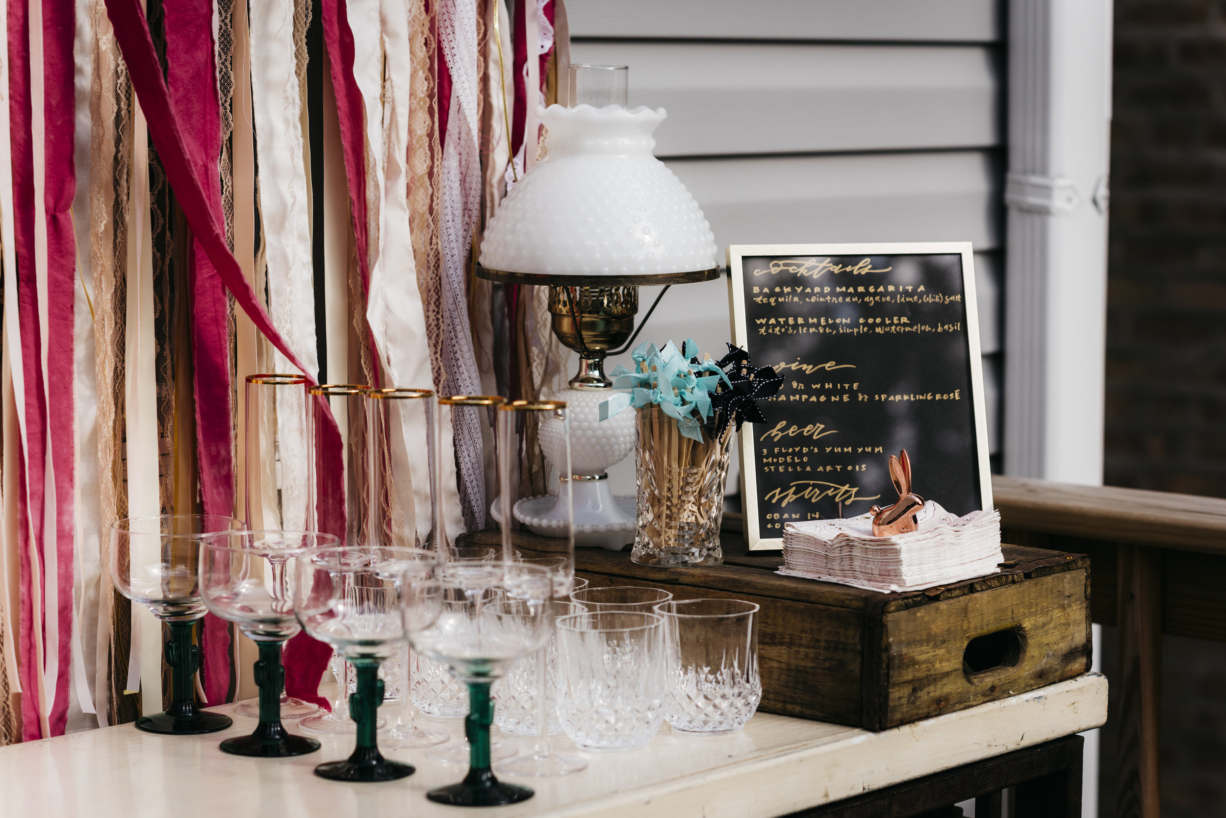 anticipation events erin hoyt photography handlettered modern calligraphy bar signage with ribbons and vintage goblets.JPG