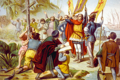 "Christopher Columbus claiming the ""New World."" Colonization was justified on religious grounds by the Doctrine of Discovery."