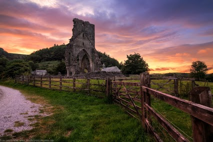 Dramatic Sunset at Talley Abbey, Wales.JPG