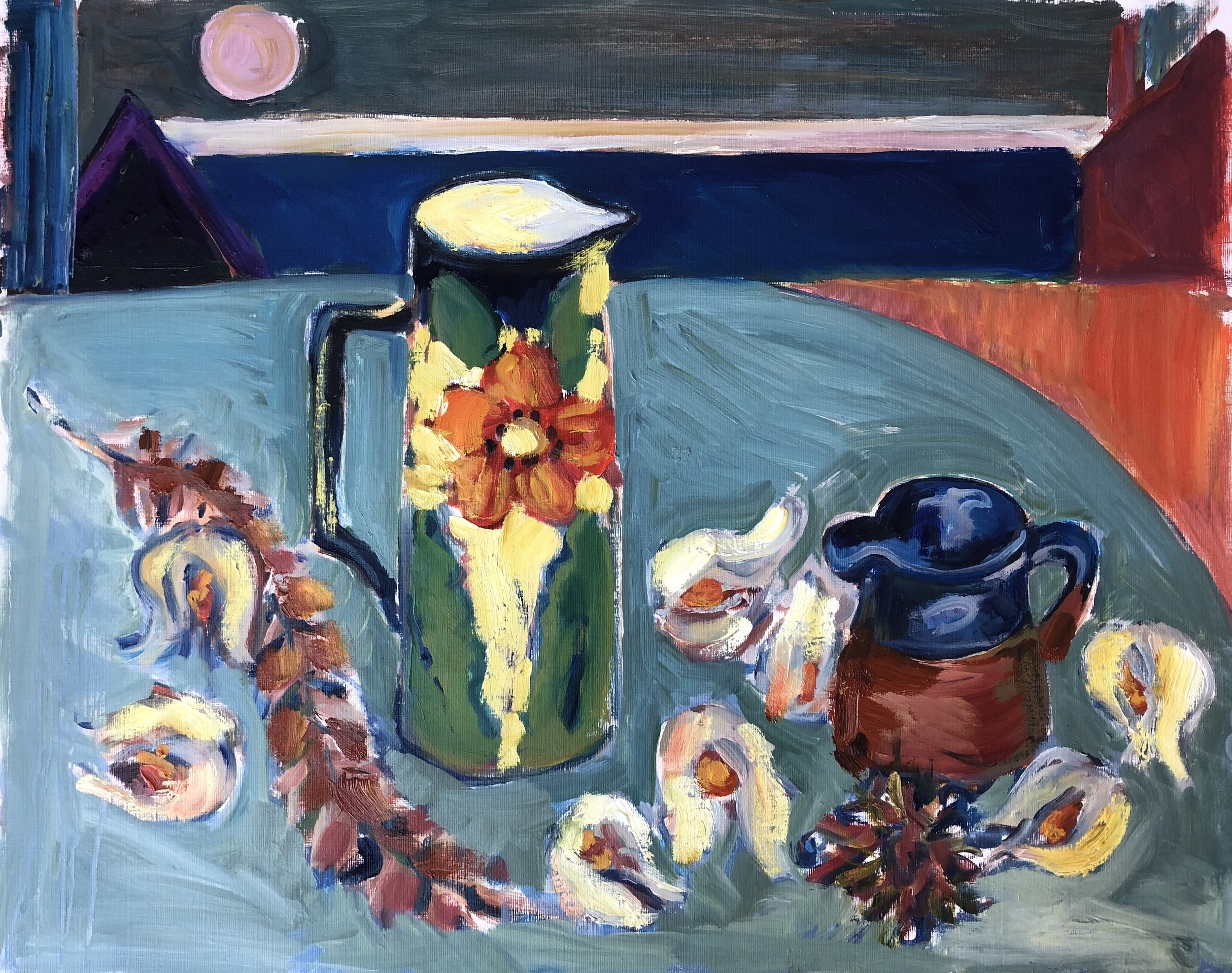 Still life, jugs and physallis, sea view.jpg