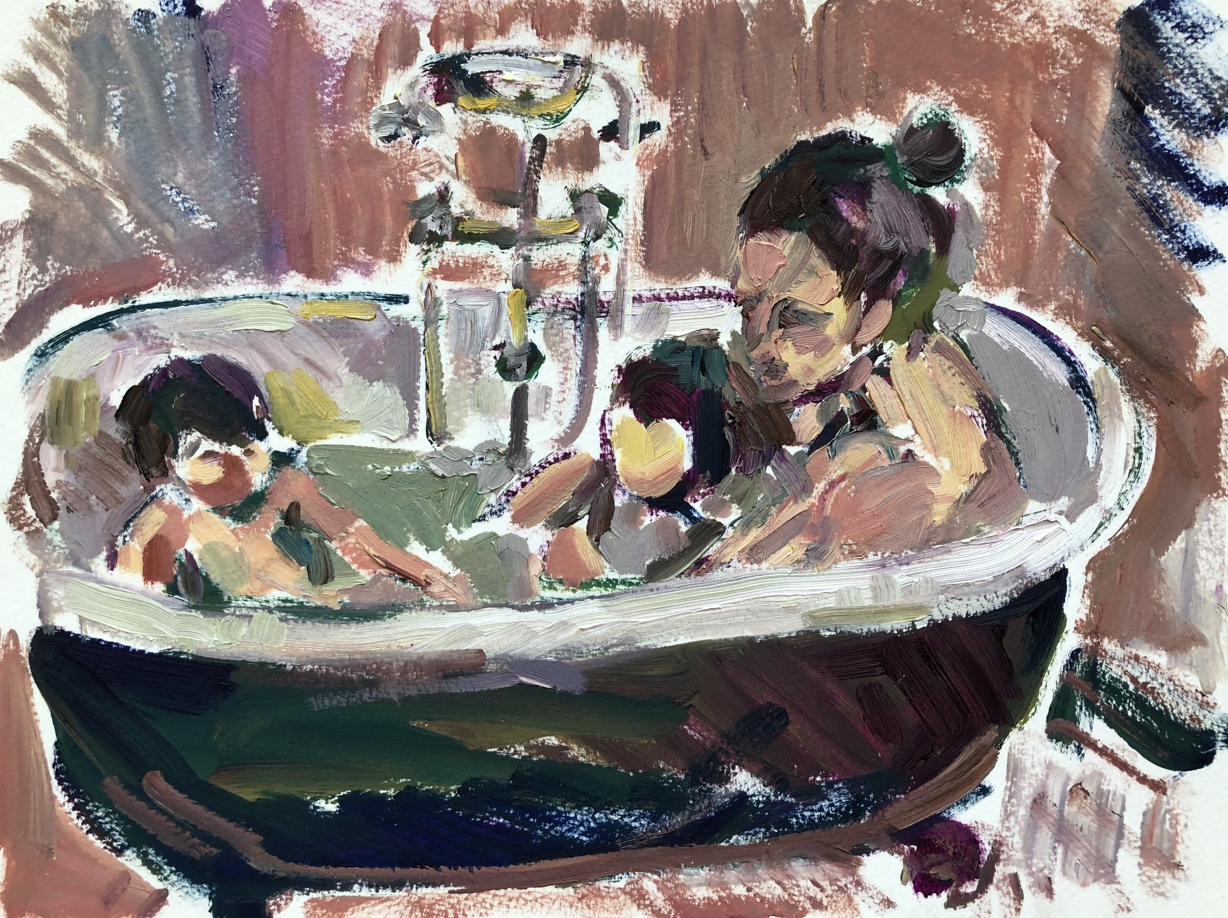In the bath 2, oil on paper, framed SOLD