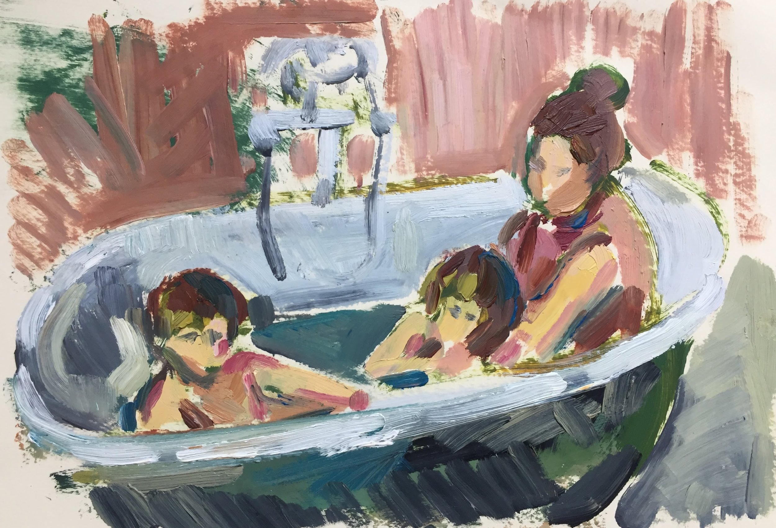 In the bath 1, oil on paper, framed 30x38cm SOLD