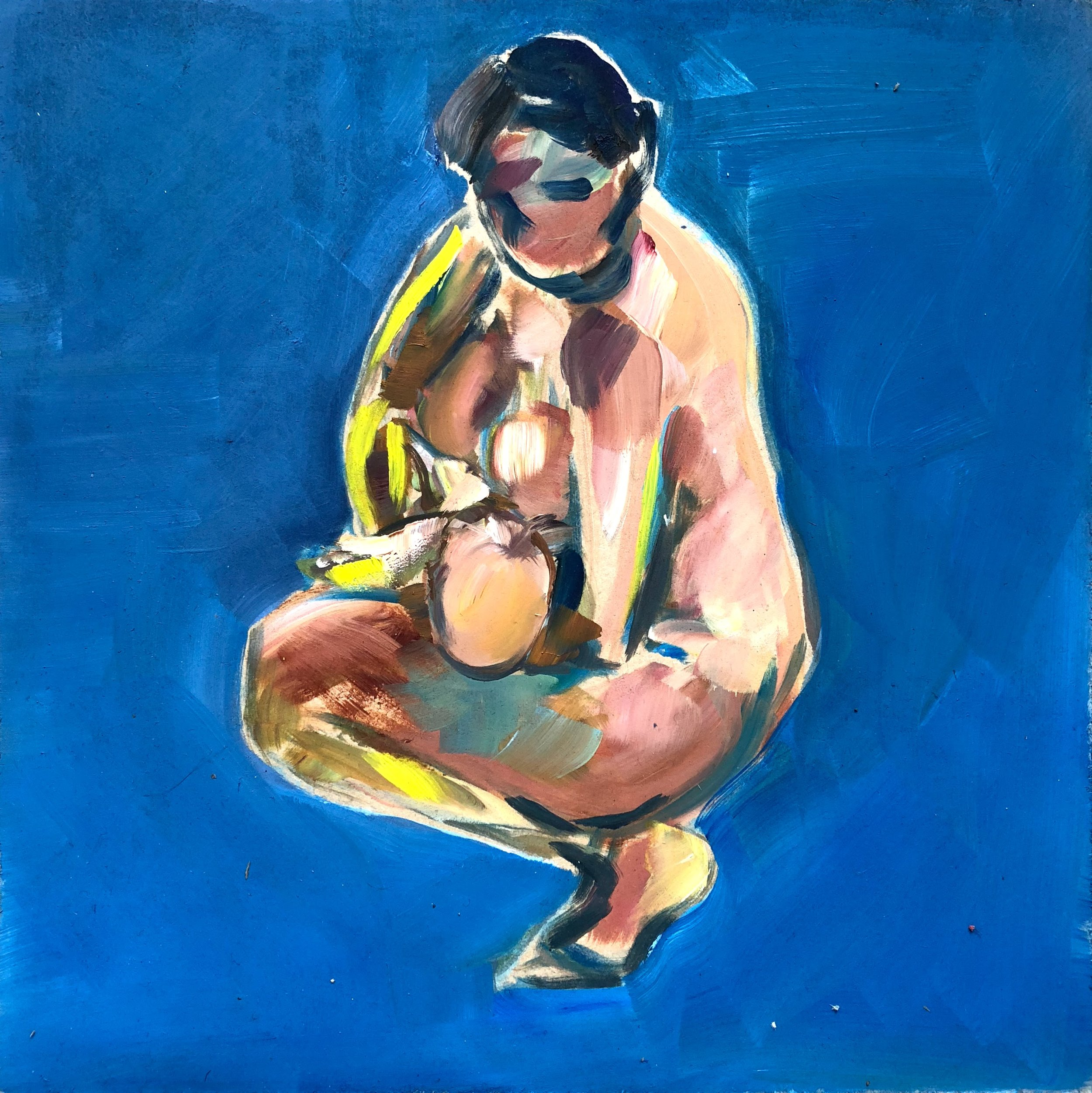 Crouching mother on blue (feeding), oil on board, framed, 43x43cm SOLD