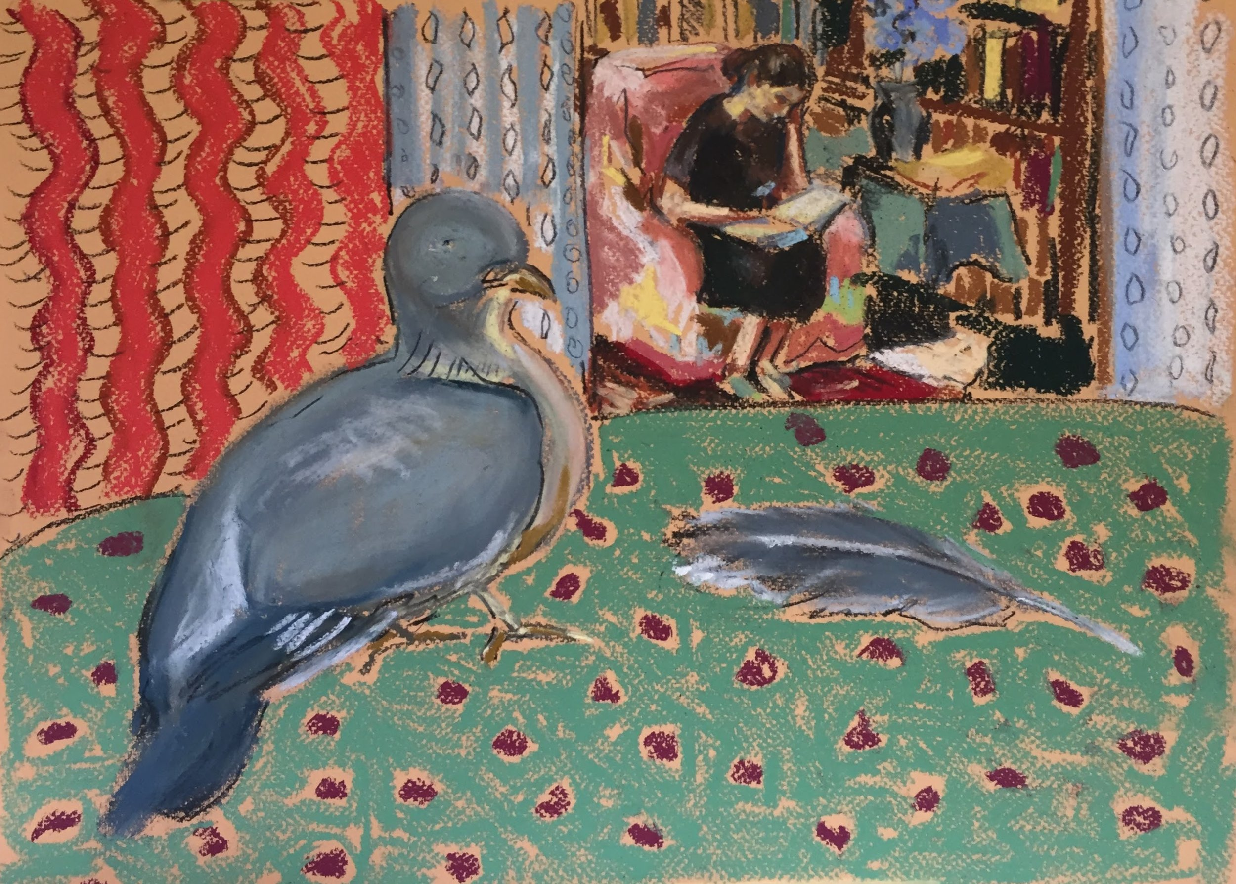 Reader with pigeon (after Vanessa Bell)