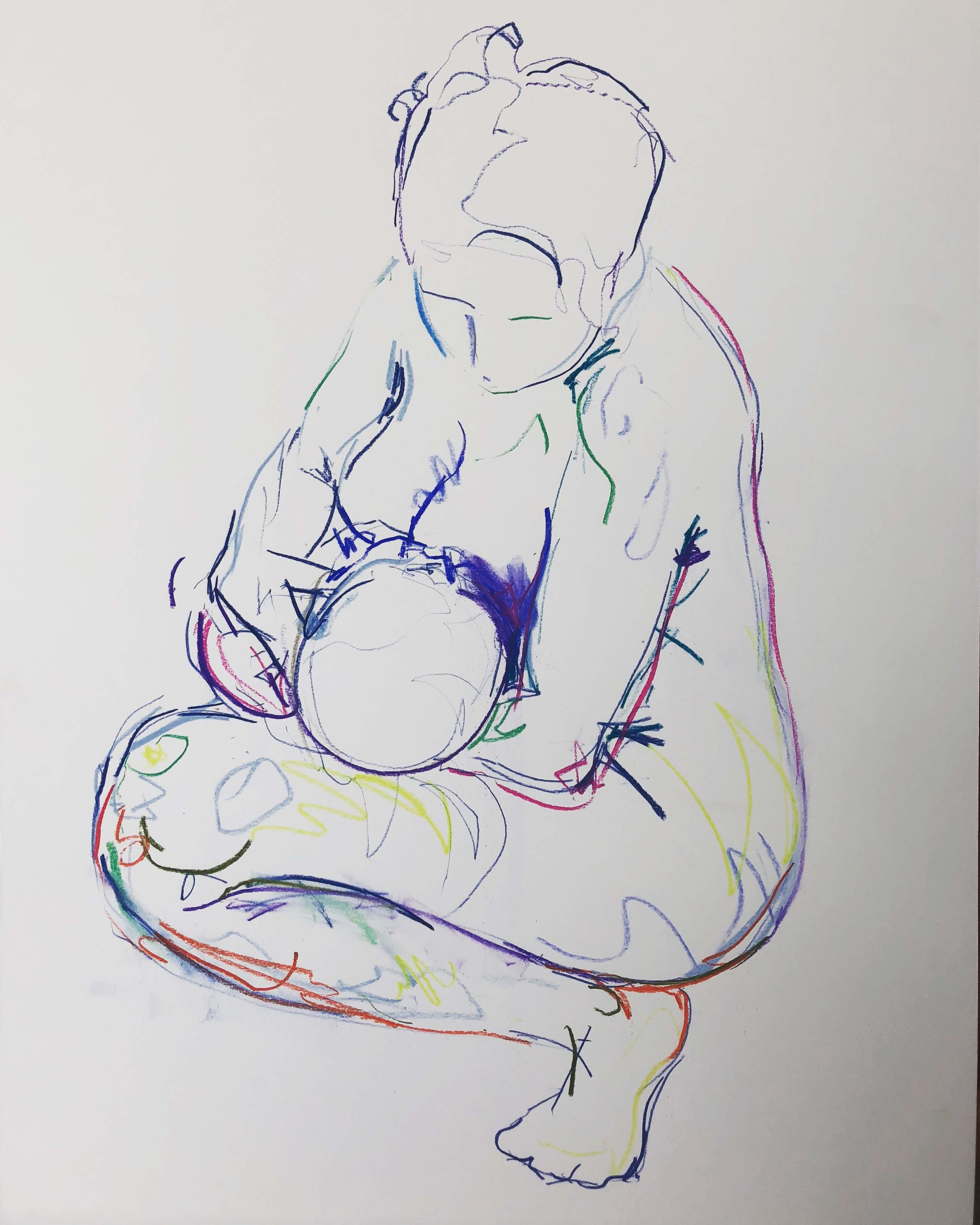Crouching mother feeding newborn 1, pastel on paper, framed 69x53cm