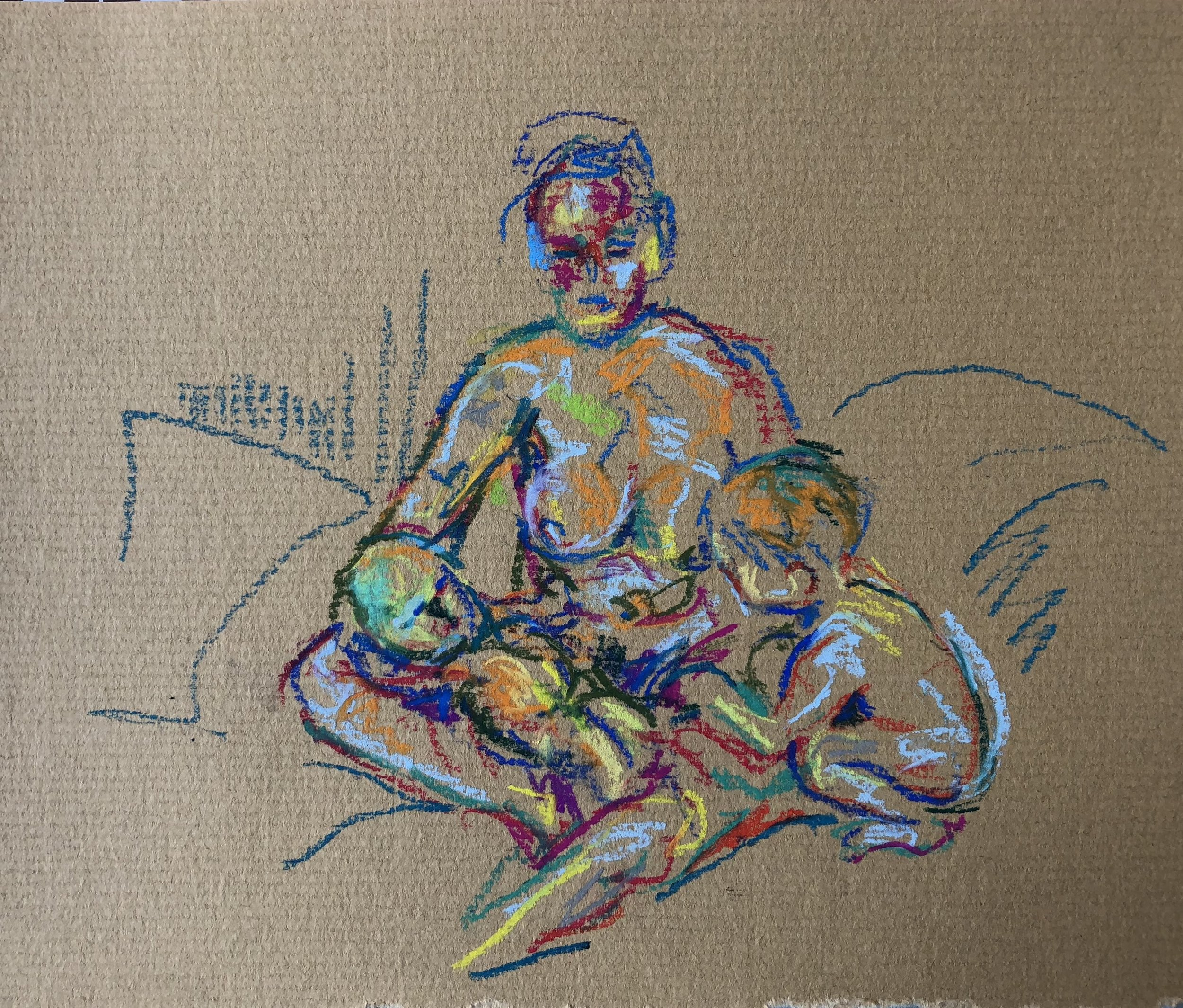 Seated with newborn and crouching toddler, pastel on paper, framed 28x32cm SOLD