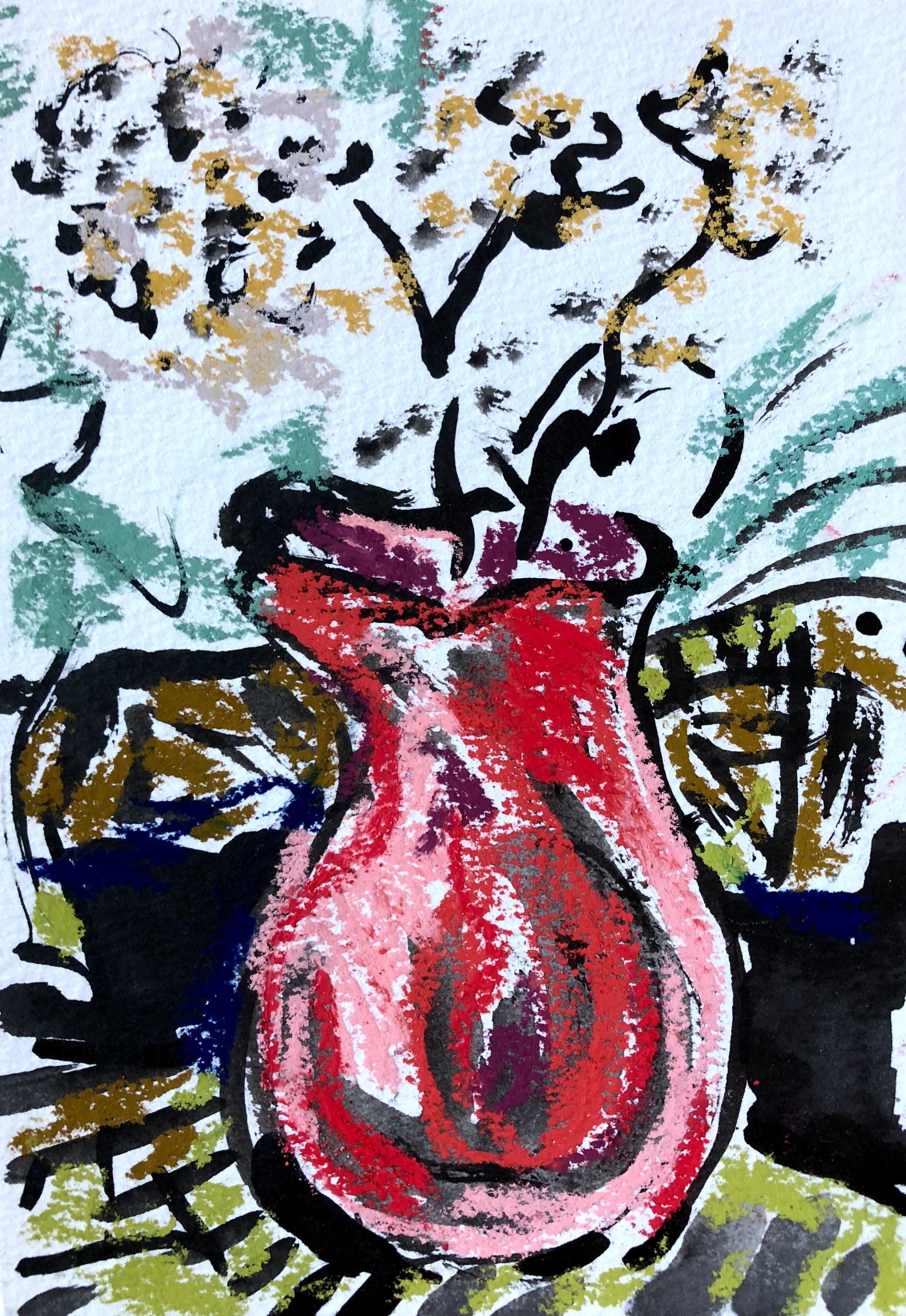White flowers in red jug