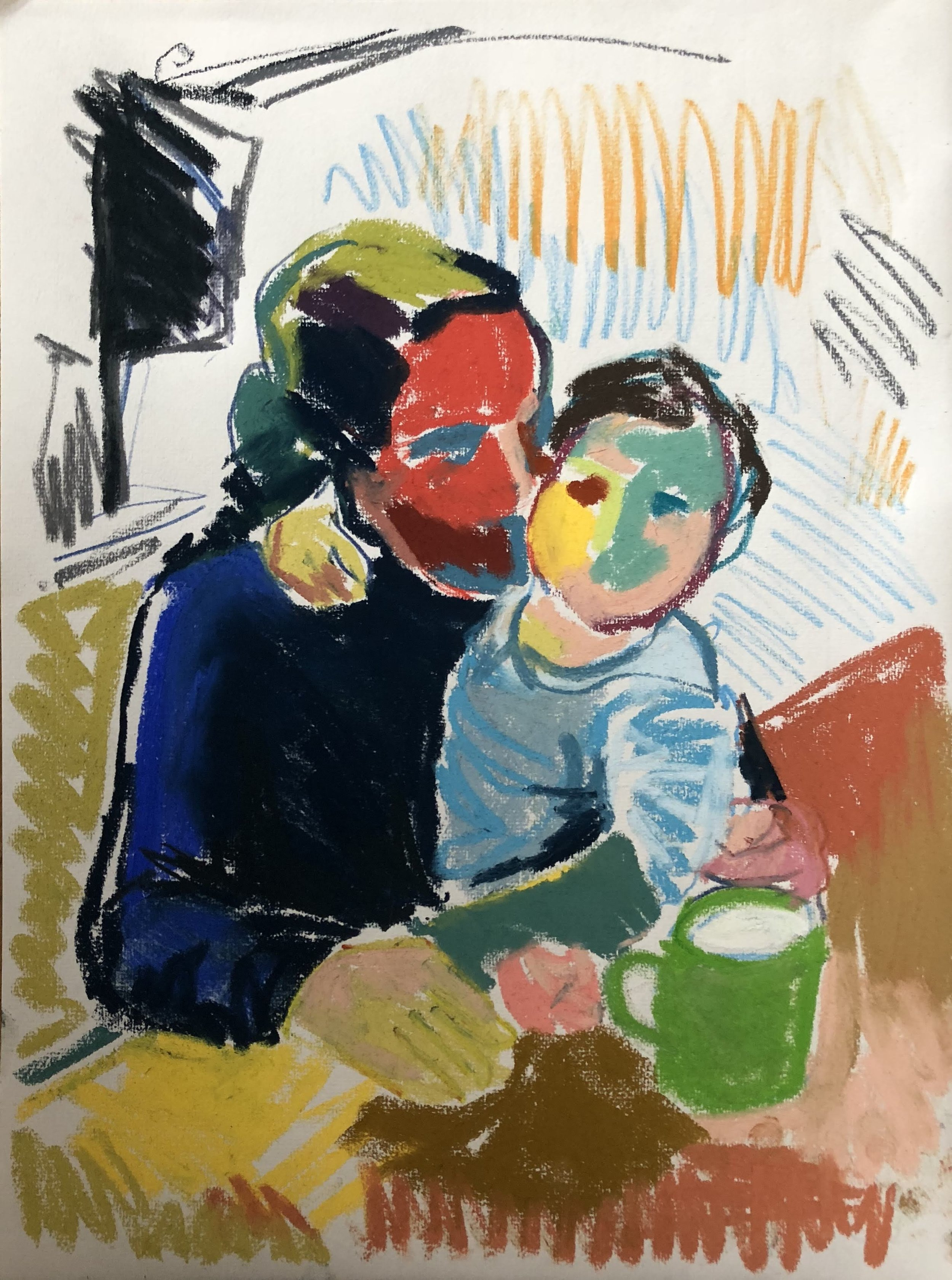 Mother and Son with Green Cup, pastel on paper, framed 52x41cm SOLD
