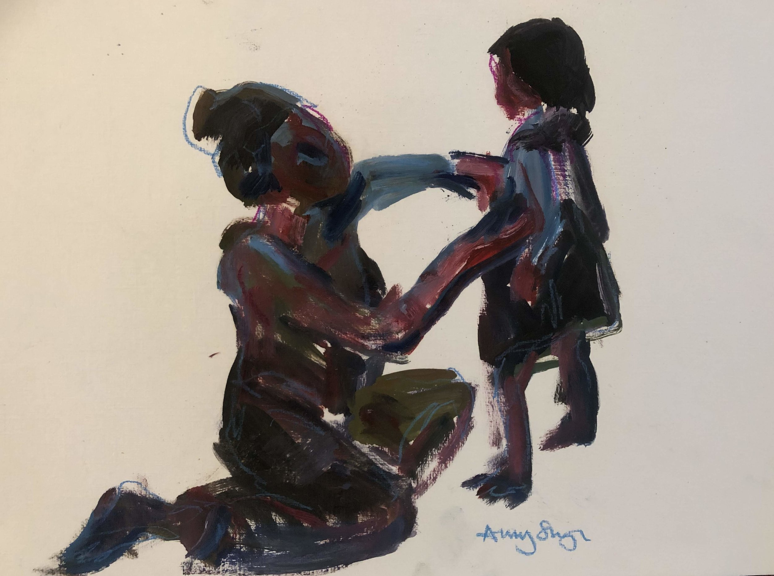 Getting dressed 2, oil on paper, framed 43x49cm