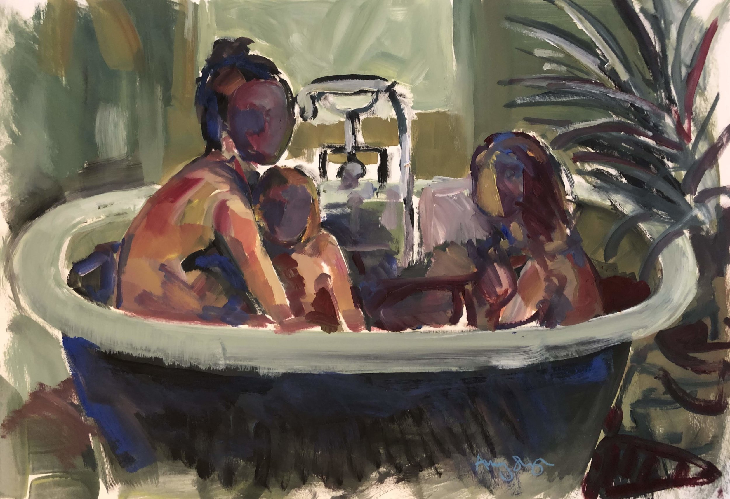 In the Bath, green plant, oil on paper, framed 55x69cm SOLD