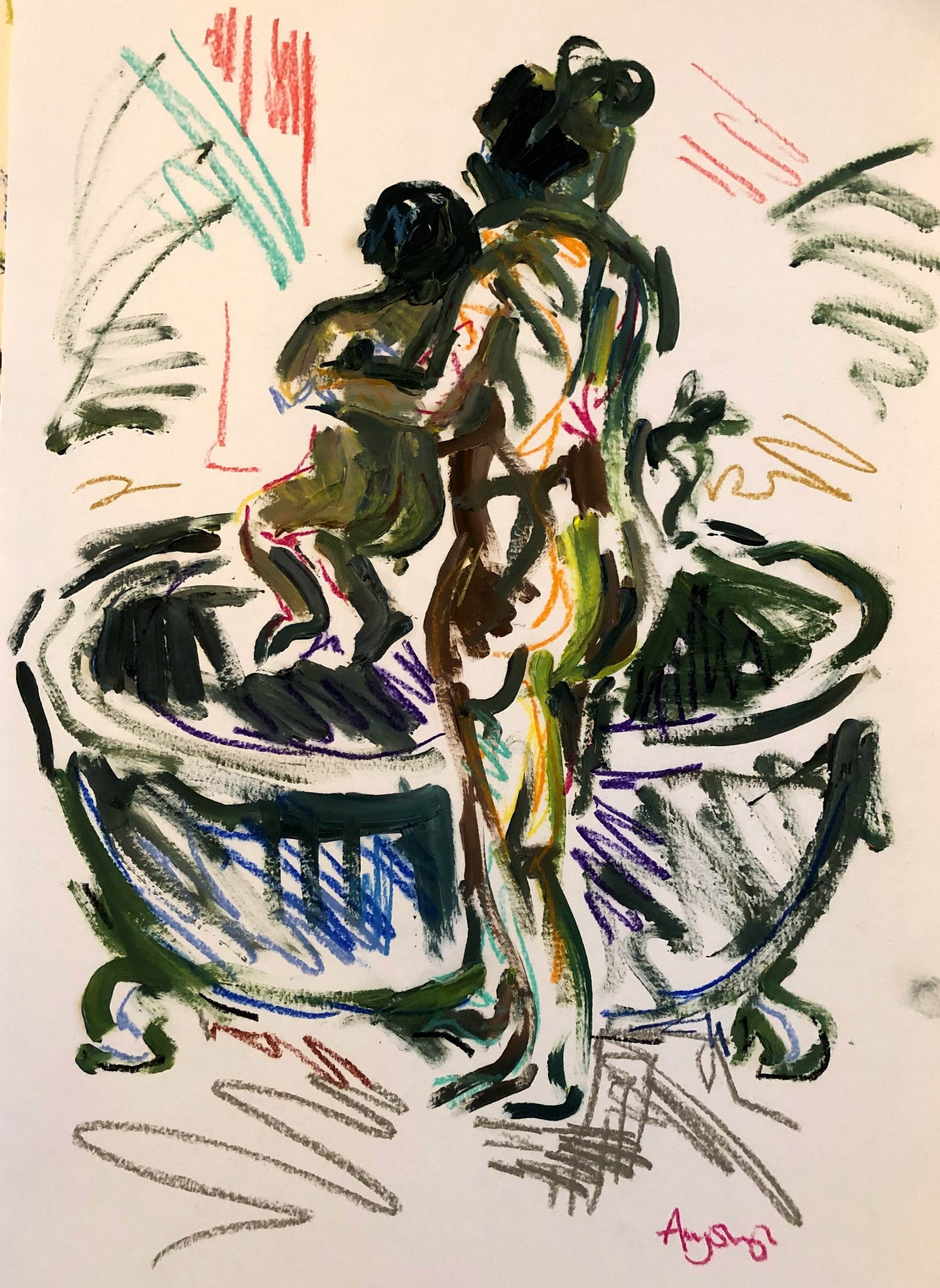 In to the bath, oil and pastel on paper, 54x41cm framed