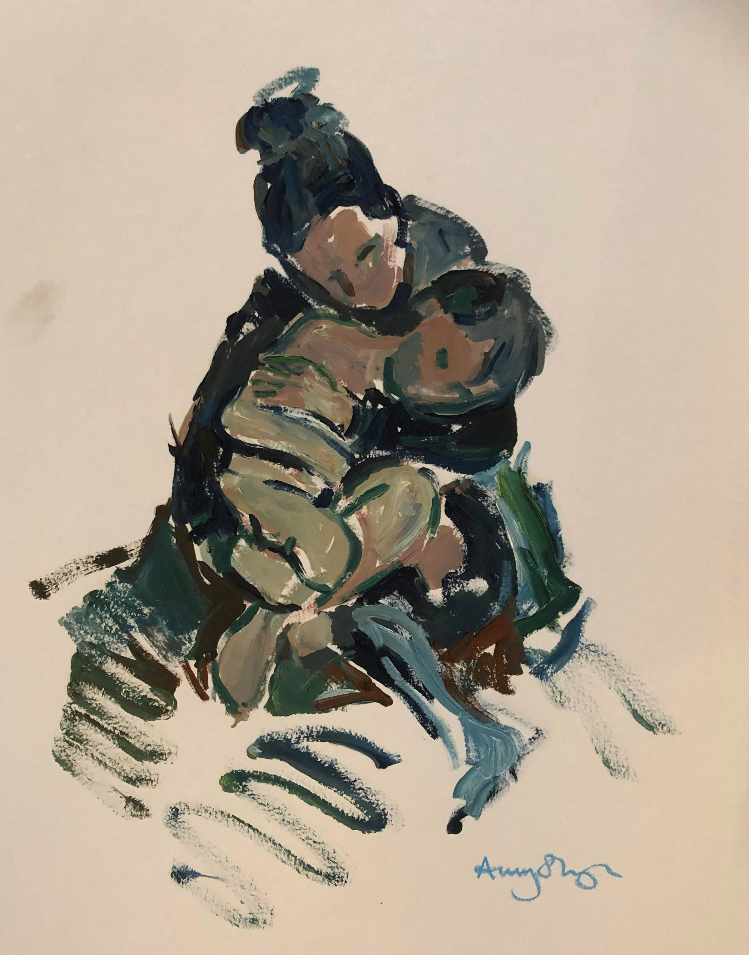 Hold, mother and son, oil on paper, 44x34cm framed - SOLD